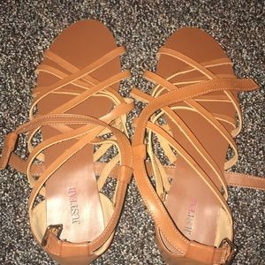 JustFab Brown Strappy Sandals - Size 11